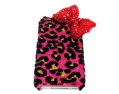 Bling Crystal Iphone 4 Red bow Case, iphone 4G Case, iphone 4S Velvet Leopard Pink Case, iphone 4 Bow Case A1b