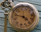 Steampunk  pocket watch Necklace key pirate Victorian locket pendant charm  DARK SHADOW pocket watch key Necklace ---- SET