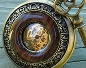 SALE ----  Steampunk  Jules Verne pocket watch key NECKLACE Victorian locket pendant