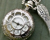 Steampunk pocket WATCH mini  pendant Necklace  Victorian pendant charm  wicca wizard witch