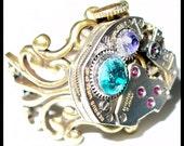 Steampunk ENCHANTED ADJUSTABLE ring -- decorated with real SWAROVSKI crystals wedding bridal