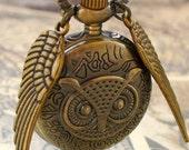 LEGENDARY Steampunk  Flying OWL pocket WATCH necklace steampunk pocket watch Necklace key pirate Victorian locket pendant charm