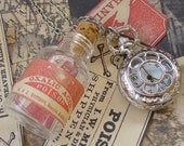 Steampunk pocket WATCH flask mini SHOT bottle pendant Necklace potion Victorian pendant charm bottle wicca wizard witch
