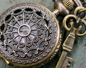 Steampunk pocket watch Necklace key pirate Victorian locket pendant charm Tiny SPIDER QUEEN KEY Necklace