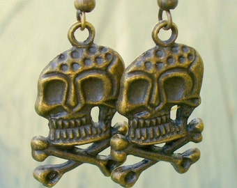 Victorian goth  earrings pendant charm DARE TO ENTER skull earrings Steampunk Pirate Goth