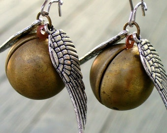 steampunk  Victorian locket pendant charm Enchanted FLYING BALL earrings---M-A-G-I-C-A-L edition