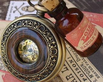 Steampunk  Jules Verne pocket watch key NECKLACE pendant FLASK Victorian pendant charm bottle ---- SET
