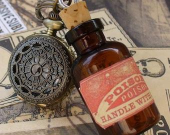 Steampunk pocket WATCH flask mini SHOT bottle pendant Necklace potion Victorian pendant charm bottle wicca wizard witch