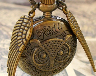 LEGENDARY Steampunk  Flying OWL pocket WATCH necklace steampunk pocket watch Necklace key pirate Victorian locket pendant charm