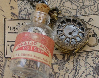 Steampunk TINY Skeleton WATCH -  flask  - mini SHOT bottle  pendant  Necklace----R A R E - never late for your potion drink