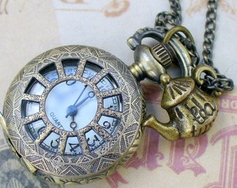 Alice In Wonderland pocket watch necklace pendant charm Steampunk TEA TIME  WATCH necklace -- never late for your T E A