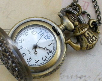 Alice in Wonderland Steampunk pocket WATCH necklace pendant charm locket TEA TIME-- never late for your T E A