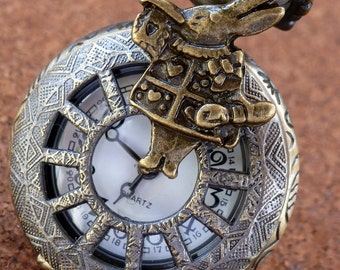 Alice in Wonderland necklace pendant charm locket TEA TIME Steampunk pocket WATCH-- never late for your T E A