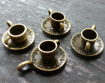 Wholesale Lot 4pcs Steampunk Alice in Wonderland necklace pendant charm tea cup tea time party  58 antique  jewelry