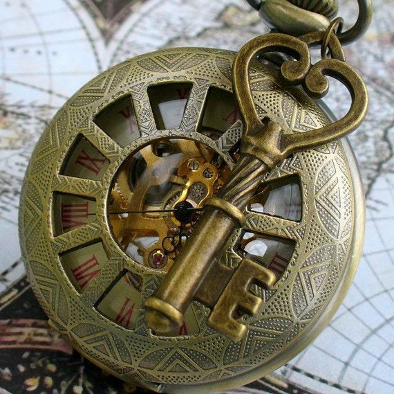 SALE -----   Steampunk  MAGICAL pocket watch key NECKLACE Victorian Locket pendant pirate Victorian  locket pendant charm