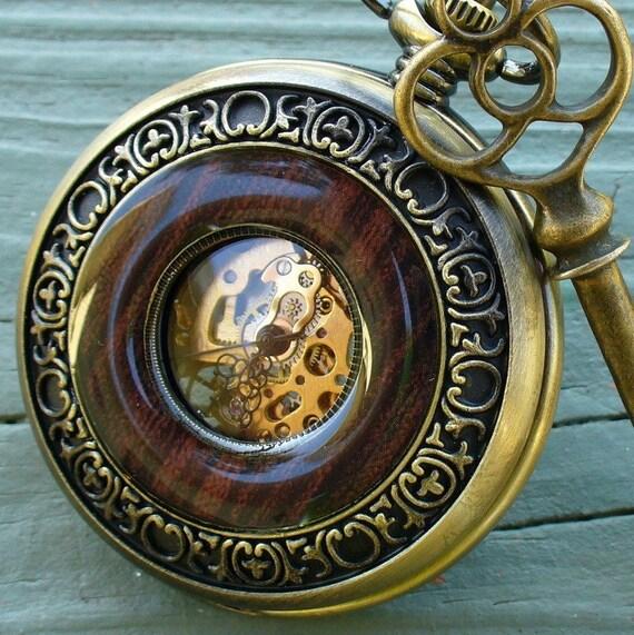 SALE ----  Steampunk  Jules Verne pocket watch key NECKLACE Victorian locket pendant charm pirate