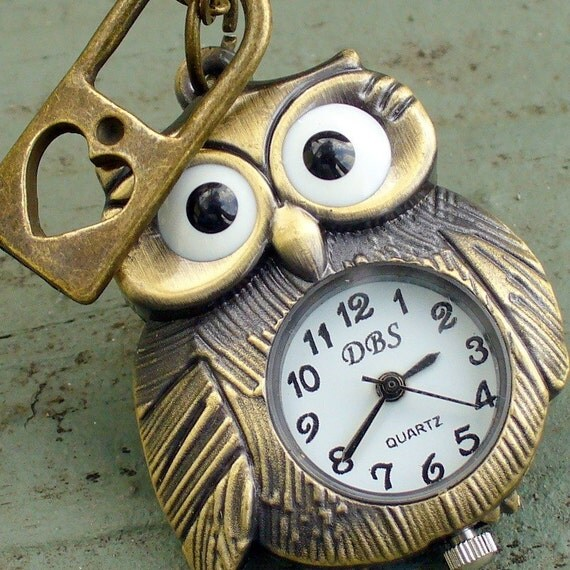 Steampunk WISE OWL- HEART lock Necklace Victorian pendant charm pirate