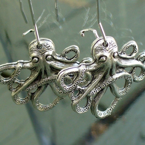 Steampunk Victorian goth BABY OCTOPUS earrings pendant charm nautical marine