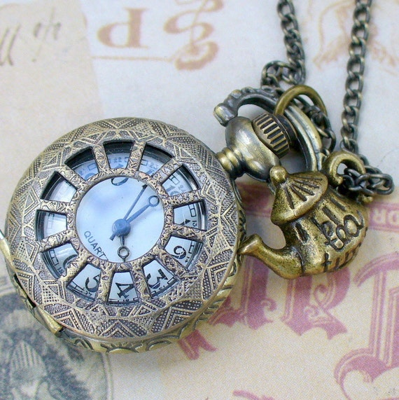 Steampunk TEA TIME  WATCH necklace -- never late for your T E A