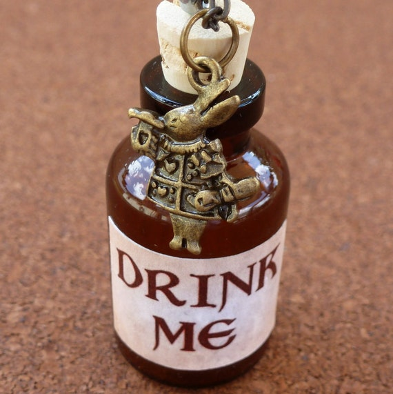 Alice in Wonderland Steampunk pocket flask bottle necklace pendant charm locket  DRINK ME  -- never late for your T E A