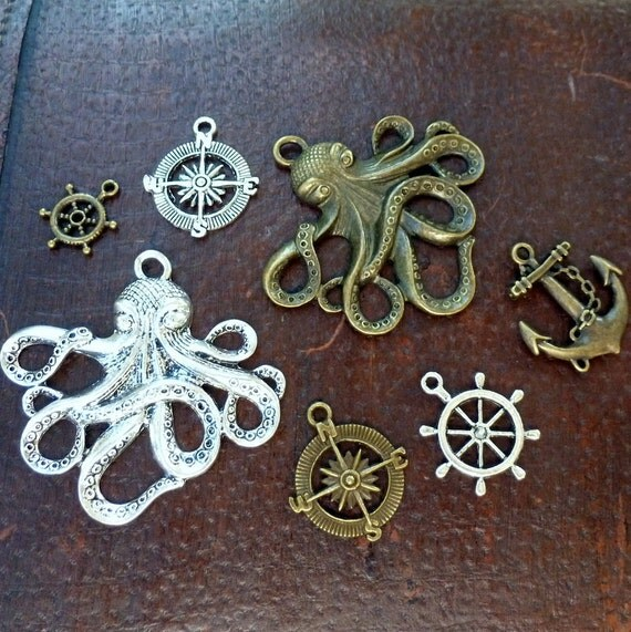 Wholesale Steampunk nautical Marine Anchor Octopus ship wheel compass antique pendant charm necklace lot 6