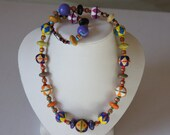 Vintage Hand Painted Wood Bead Art Necklace Colorful