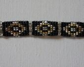 Vintage Amazing Black Gold Clear Seed Bead Handmade Bracelet Stunning