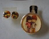 Vintage Fran Mar 1971 Moppets Pin Brooch Clip on Earrings Set Original tag Hippi