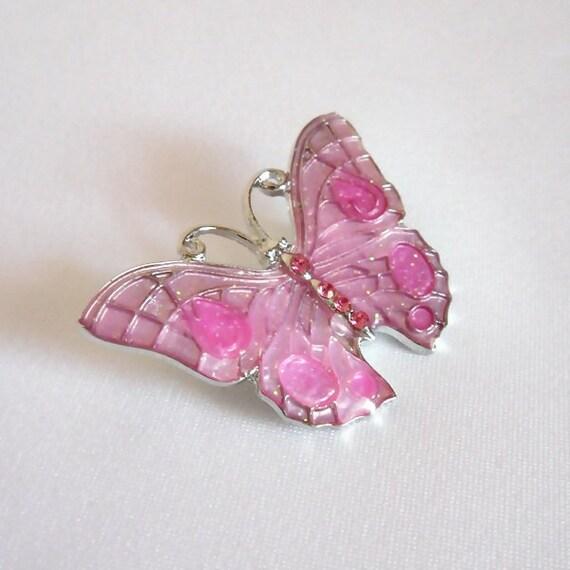 Pink Butterfly Brooch