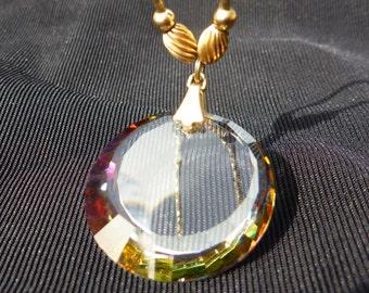 Vintage SWAROVSKI CRYSTAL Vitrail PENDANT Necklace