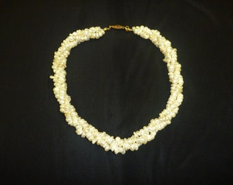 Vintage LUCORAL FRESHWATER PEARL Three Strand Twisted Necklace