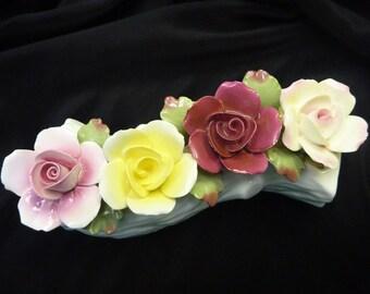 VINTAGE Estate ANSLEY Fine Bone CHINA Floral Figurine