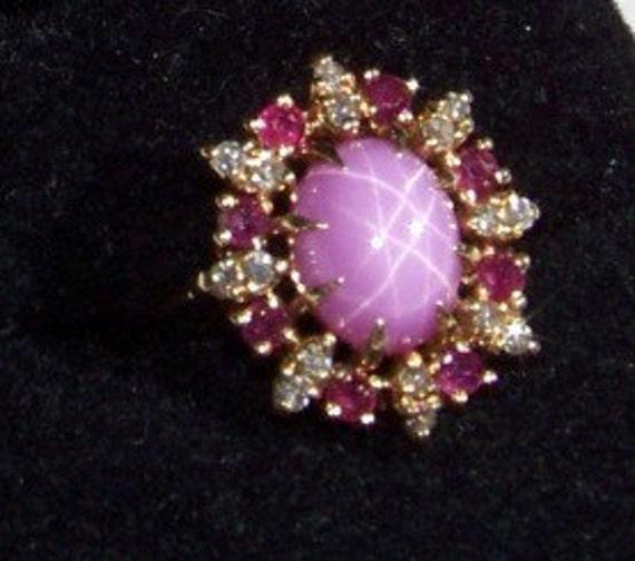 Vintage Pink Star Sapphire Diamond Ruby 14kt Gold Ring