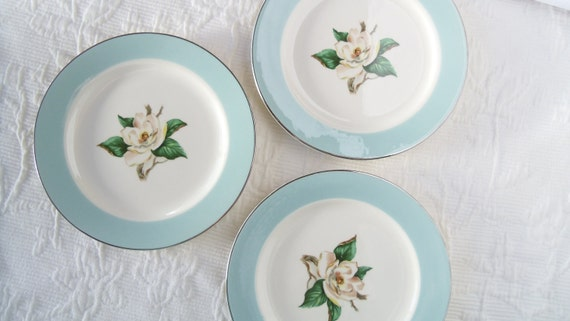 3 Vintage Bread & Butter Plates -Turquoise and Magnolia -Homer Laughlin -LIfetime China Company -Made in USA