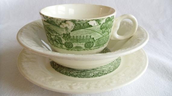 Vintage 1950's Teacup, Saucer and Bowl - Homer Laughlin -Pastoral
