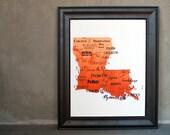 """Best of Louisiana Cuisine Word Art, 11""""x14"""" on Fine Art Paper"""