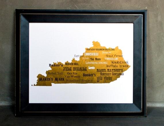"""Best of Kentucky Bourbon Word Art, 11""""x14"""" on Fine Art Paper"""