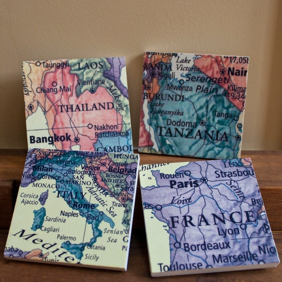 Map Coasters, Wedding Favors, Your Favorite Places on Stone, Set of 6