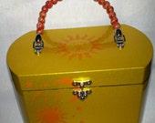 Yellow gold, Orange, Sun, Moon and stars large box purse with wood bead handle