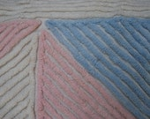 Pink Blue Geometric Triangles Vintage Chenille Bedspread FABRIC Piece