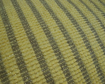 Brilliant Yellow Vintage Chenille Fabric Piece Morgan Jones Mini Triple Pop with Silver Lurex from Bedspread