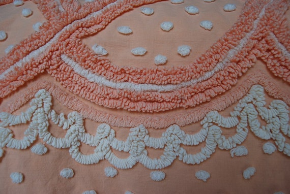 Peach Creamy Ribbons and Popcorn Vintage Chenille Bedspread FABRIC Piece