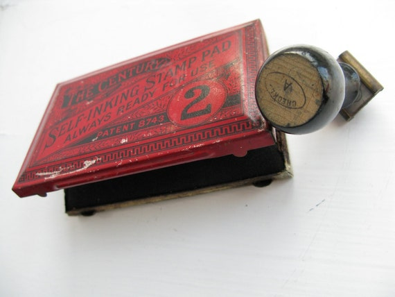 Vintage Tin Ink Pad and Office Stamp, Inked and Checked