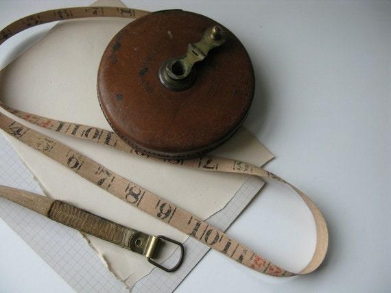 Vintage Leather Treble Tape Measure, English Measuring Tape 66ft