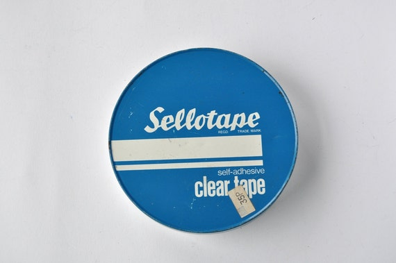 Vintage Sellotape Tin Made in England Desk Storage Collectible