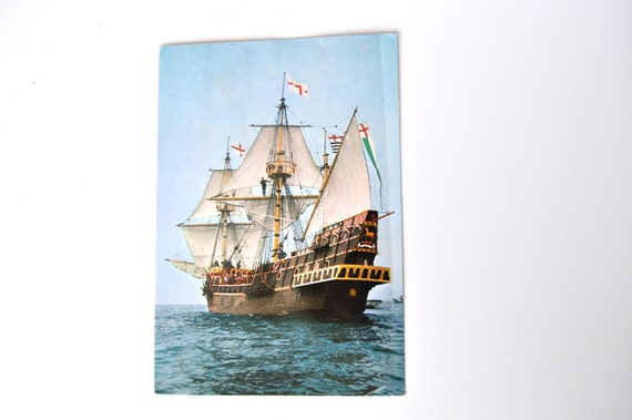 English Postcard The Golden Hinde Galleon 1980s