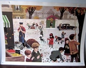 Vintage French School Poster by Nathan (digging potatoes/fall fun in the streets of Paris)