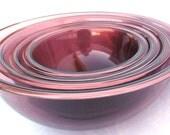 Set of Four (4) Vintage Pyrex Purple Nesting Mixing Bowls