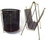 Vintage Mid century Mod Magazine Rack and Waste Basket