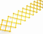 """Awesome  Yellow Wood Vintage Accordion Wall Rack 49 Pegs 88"""" fully extended"""